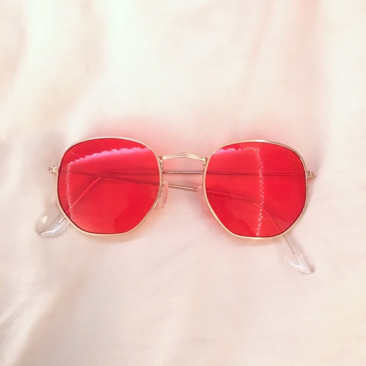 8e06864812 Red lensed glasses with gold frames - worn once - bought no - Depop
