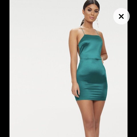 f9e7a4d34b Gorgeous Emerald green satin strappy back bodycon dress for - Depop