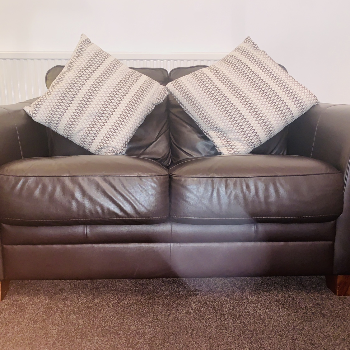 Outstanding Dark Brown Leather Sofa 2 Seater Used For 1 Year Depop Onthecornerstone Fun Painted Chair Ideas Images Onthecornerstoneorg