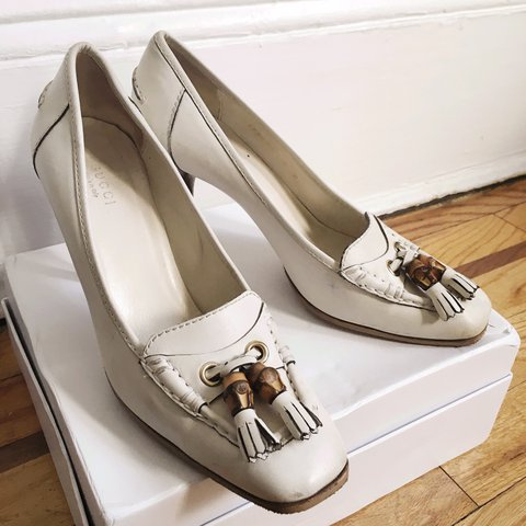 7db8450dea659 @13recollets. last year. New York, United States. Authentic GUCCI cream leather  high heels classic pumps loafers slip on shoes ...