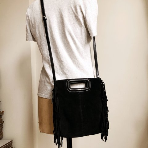 8b901df13 @13recollets. 2 years ago. New York, United States. MAJE Paris Black  leather suede fringed small tote bag purse