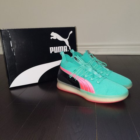 e763257c79021 PUMA CLYDE COURT- BISCAY GREEN BASKETBALL SHOES. Worn once - Depop