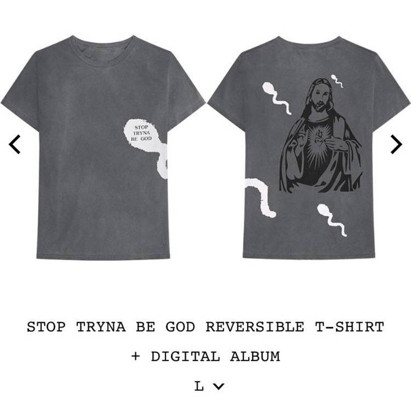 "775aba6c70af Stop Tryna Be God"" Reversible T-Shirt. -Size:... - Depop"