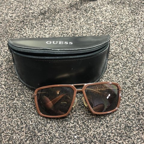 096f3b4ca3b94 Guess square frame brown sunglasses Worn once or condition! - Depop