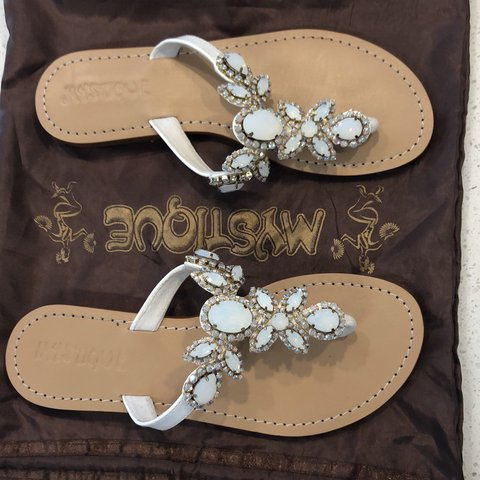 190a10f767c8f2 Mystique brand new sandals. They have gold and white with 2 - Depop