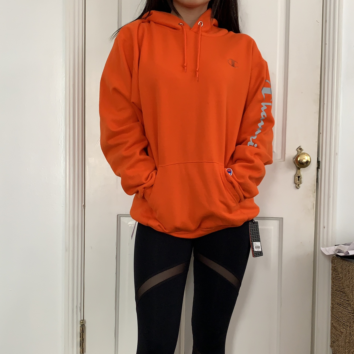 orange champion hoodie