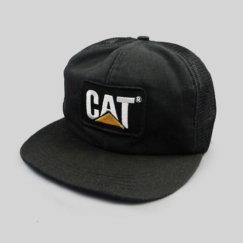 60e5a3b6e14fb Rare 1980 s Caterpillar Cat vintage trucker mesh adjustable - Depop