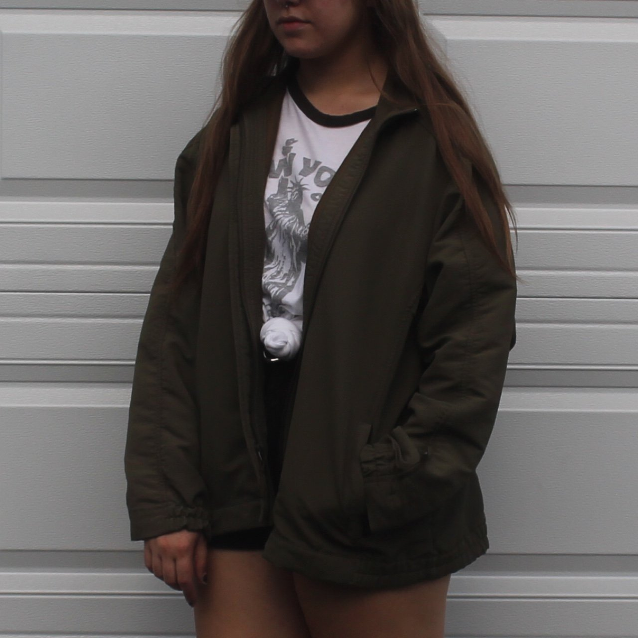 amazing vintage army green nike bomber jacket. has a green a - Depop 651c54bed