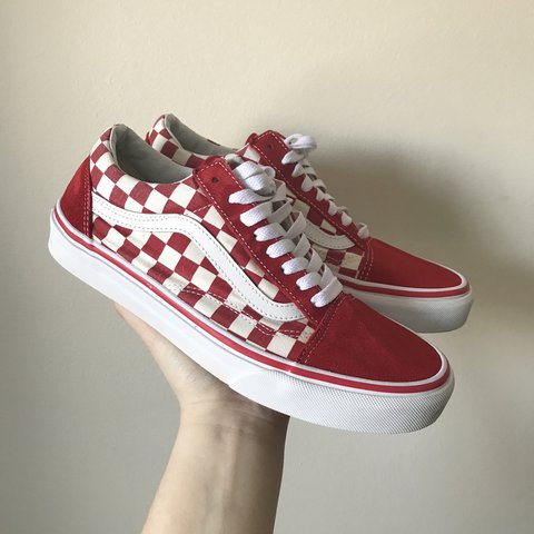 2554a2be25 red and white checkered old skool vans. really good only a a - Depop