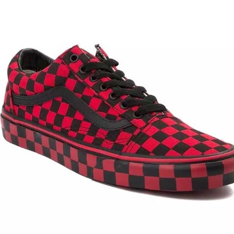 red checkered vans, old school style