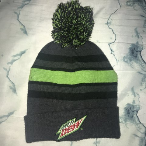 4ce1a3ff80b Neon green and gray Mtn Dew beanie with a poof ball on the - Depop