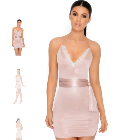 02976def95ec Oh Polly (gone without a lace satin mini dress in blush just - Depop