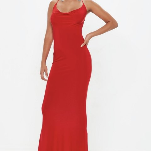 ca8ca076c7 Missguided Red Slinky Cowl Maxi Dress size 14. Would fit a a - Depop