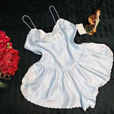 92c36db632 Vintage 80 s Satin Teddy Negligee from Sears Contemporary on - Depop