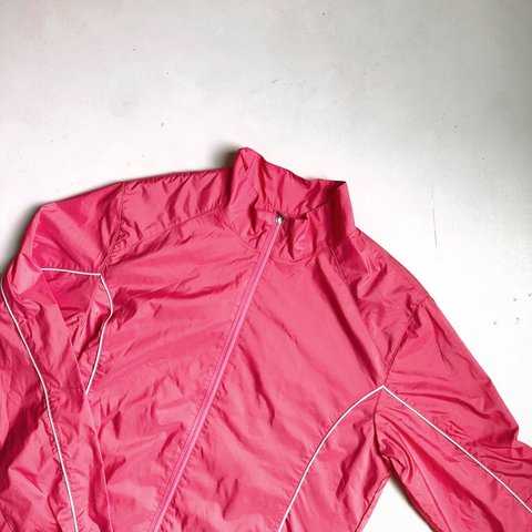 9750a02396 BRIGHT PINK WIND BREAKER Sporty jacket perfect for a cool It - Depop