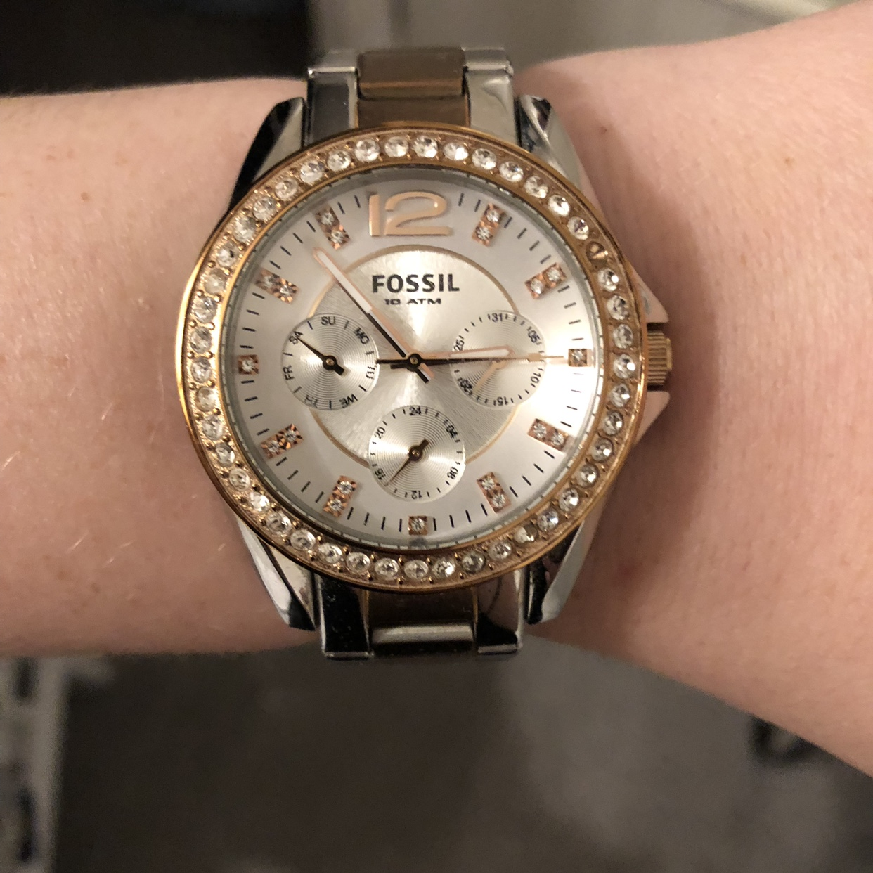 Rose gold and silver ladies fossil watch With    - Depop