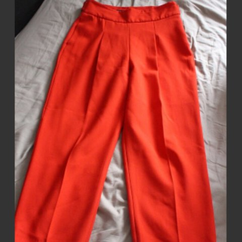 974373b6 🔴#zara red trousers. Absolutely stunning fit and perfect - Depop