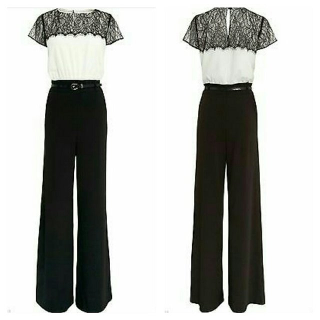 5edcff11678b NEXT Black   White Lace Belted Jumpsuit Brand New With 12   - Depop