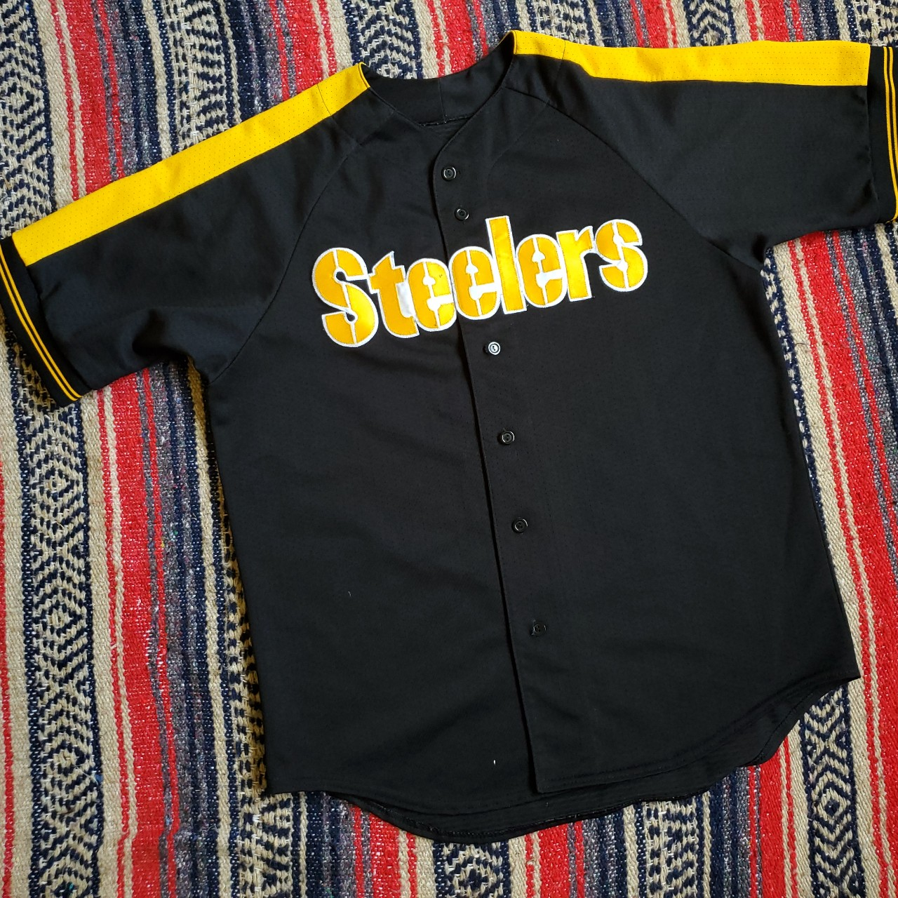 check out 781d2 e7a9c Vintage 1990s Pittsburgh Steelers Baseball Style... - Depop