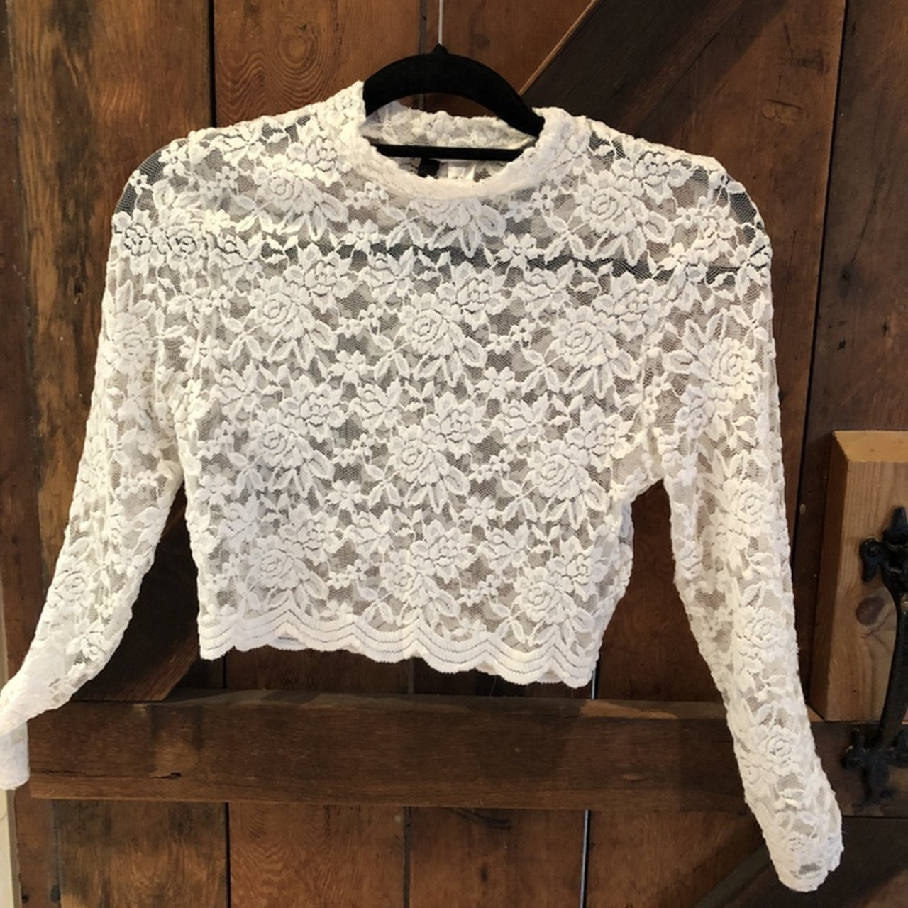 6dc62e7a08820 White lace high neck crop top. Great condition. Tags   HM - Depop