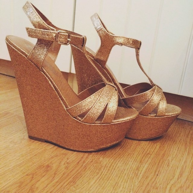 New Look gold glitter heels   wedges. 5 inches or 6 inches. - Depop