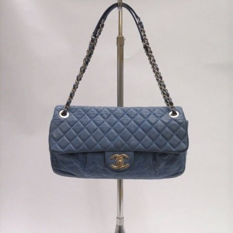 c495e16a14f2 Chanel Coco Pleats Flap Bag Blue Quilted Calfskin Gray and a - Depop