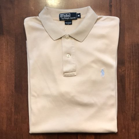 734648924 @alfofashionco. 3 months ago. United States. Beige POLO by Ralph Lauren  Polo Shirt. 100% Cotton. Baby blue embroidered ...