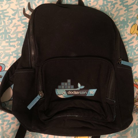 0dd4824c0e26 medium sized black and blue backpack. has one big pocket and - Depop