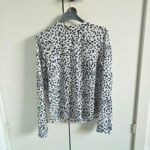 047e8bcbae0f30 Primark leopard print black and white high neck blouse with - Depop