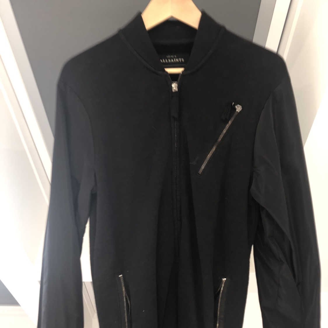 Men's All Saints Bomber Jacket In Black   Size Xs   by Depop