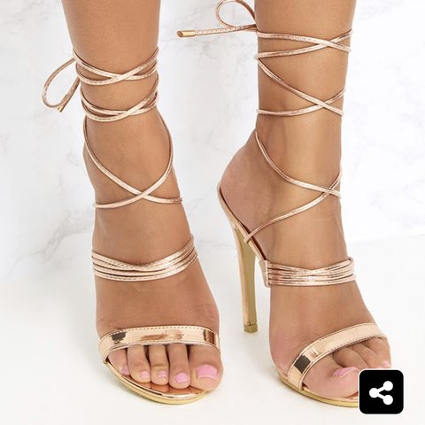 """f50a647be94 Pretty Little Thing """"Rose Gold Thin Strappy Lace Up Heels"""" - Depop"""
