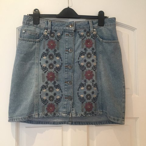 f956be084c @carolinew2112. 4 months ago. London, United Kingdom. TU Sainsbury's denim  mini skirt with embroidered floral ...