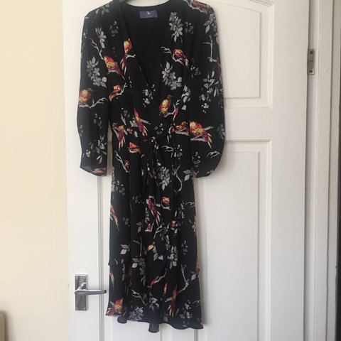 7f56802b79 TU Premium size 12 black wrap dress with bird pattern 🐦 and - Depop