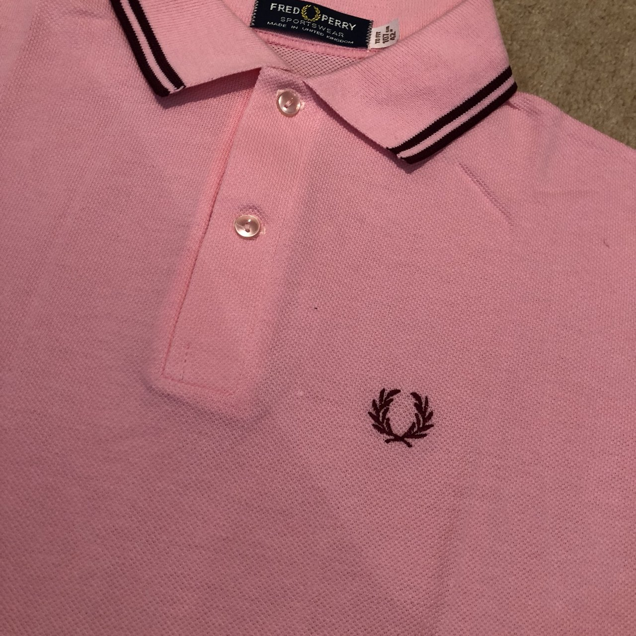 e5b5a12fc @supersnic123. 9 months ago. London, United Kingdom. Unworn vintage Fred  Perry pink/burgundy trim short sleeved polo shirt.
