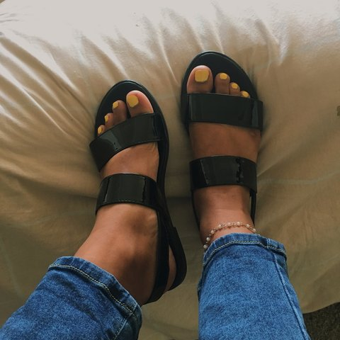 21c32adae0e FOREVER 21 faux patent leather sandals - two strap faux - Depop