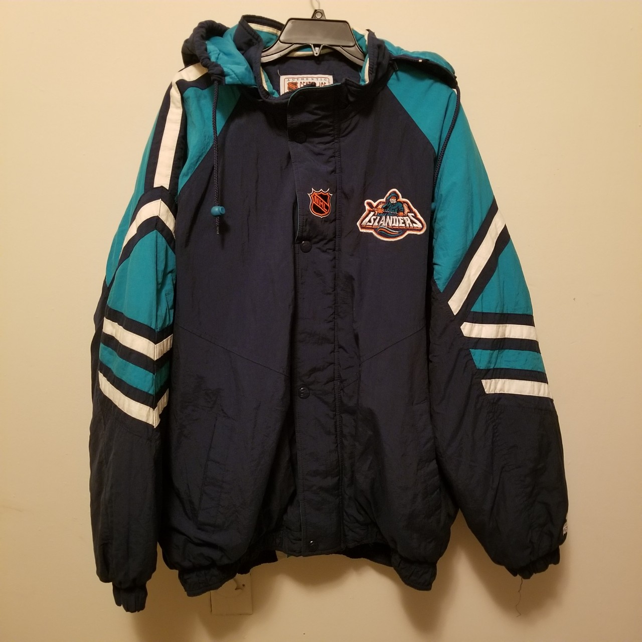 online store 146be 45488 Vintage New York Islanders Fisherman Starter Jacket... - Depop