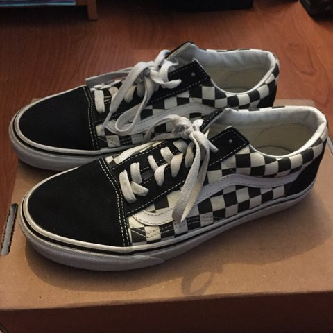 6fad22c0777911 Vans Checkered   Checkerboard Old Skool Shoes in black and 8 - Depop