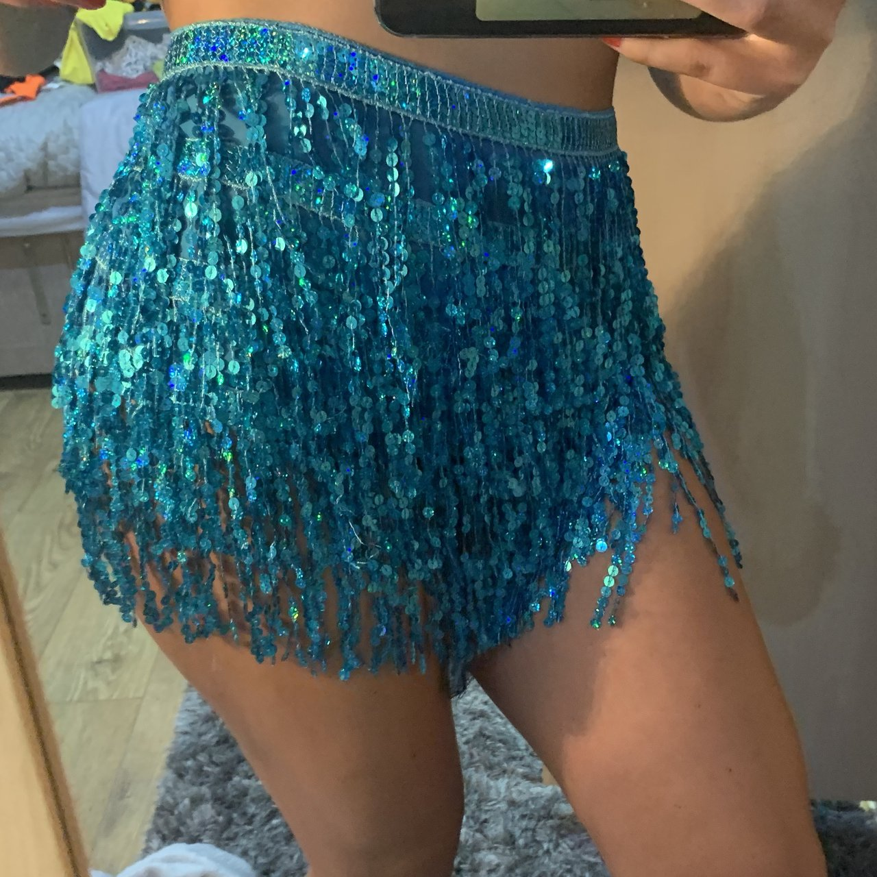 179aa76c154b Light blue tassel sequin skirt Also available in gold, and - - Depop