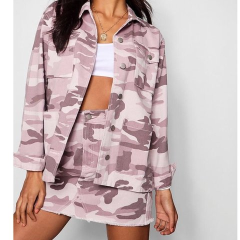 66a157135501 denim pink washed camo denim co-ord / two piece jacket and 8 - Depop