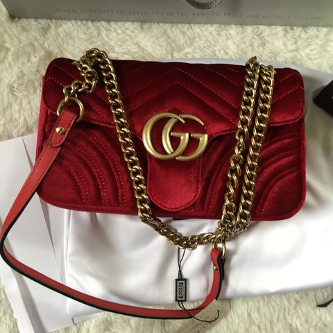 2155884e050d @mariej86. 9 months ago. Boston, United States. Gucci marmont red velvet bag