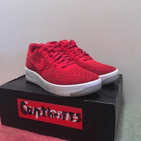 093e575ef418 Nike Air Force 1 Low Red Fly Knit -9 10 - 50 -Only wear is - Depop