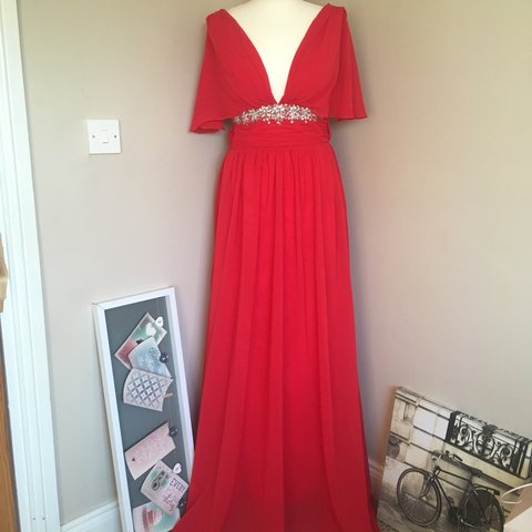 fe9af27fa84e @gleefun. 3 months ago. Thurles, Ireland. Red chiffon floor length ball gown  or Debs dress ...