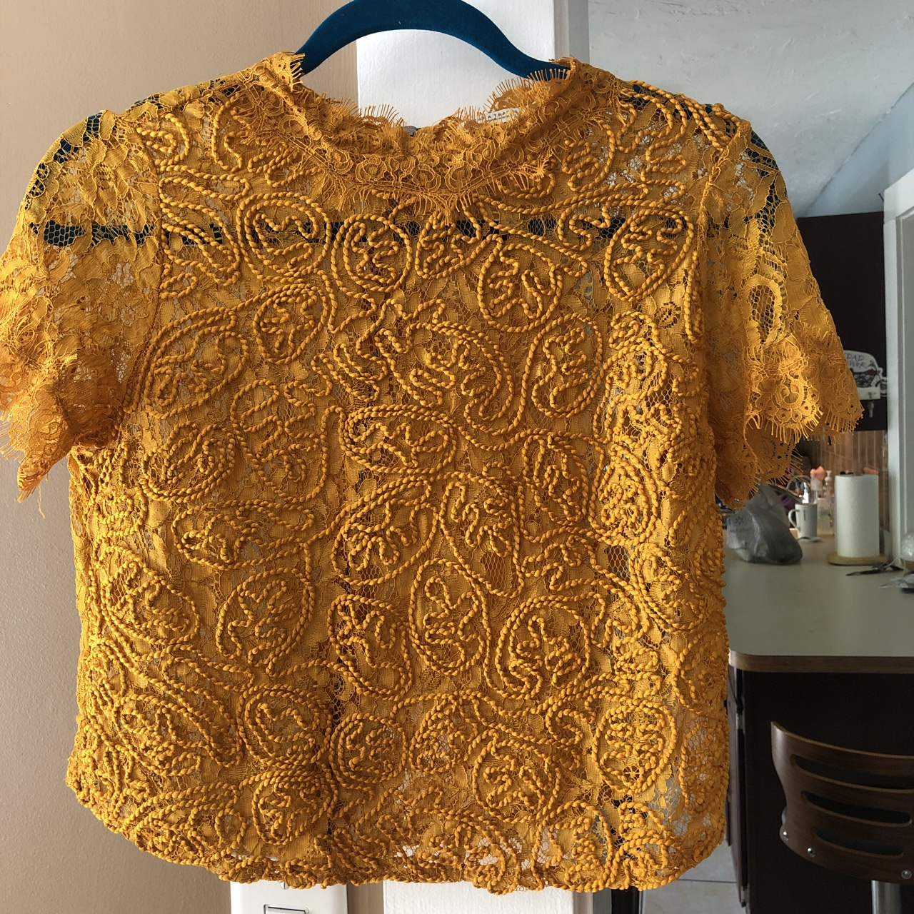 A cute yellow mustard color blouse from Zara! Great    - Depop