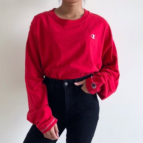 6bee7c2a7 🔥 vintage red champion long sleeve shirt 🌹🌹 🌨 9/10 — is - Depop