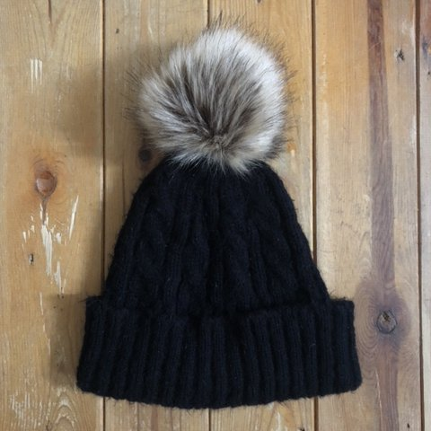 d01fcfb37a7 ASOS black knit bobble hat • Great condition • Cosy and hat - Depop