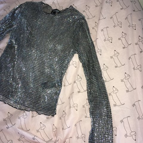 55fdb284 REDUCED* beautiful silver sparkly mesh top! looks amazing a - Depop