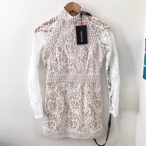 9d6c06f44e Isobel white lace high neck bodycon dress -Labelled as size - Depop