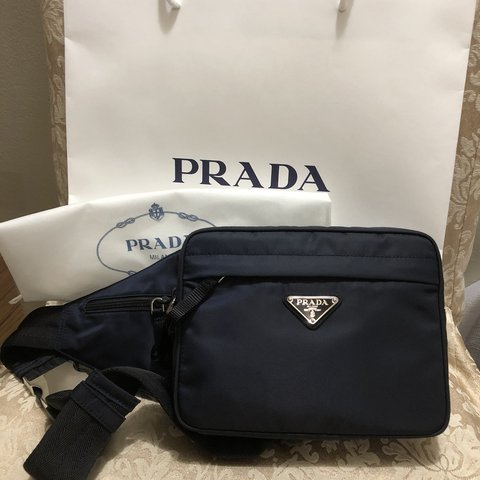 72bd248a5269 Like New PRADA waist bag in Navy Blue color nylon with Worn - Depop