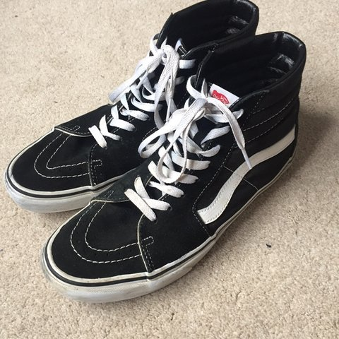 5b4cfde9d5 Vans Sk8-Hi Hi Tops in Black and White Good condition on - Depop