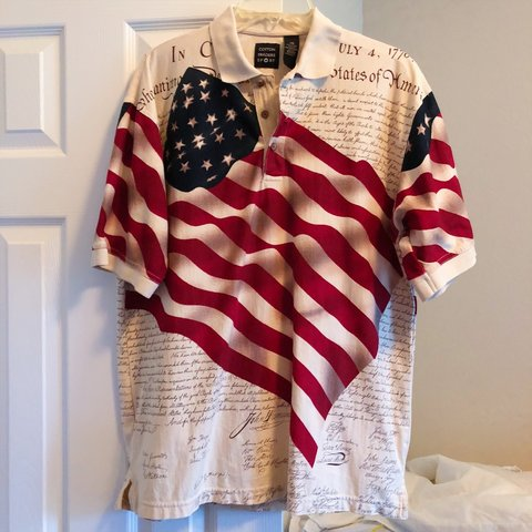 8d014163 AMERICAN FLAG + CONSTITUTION all-over print polo shirt with - Depop